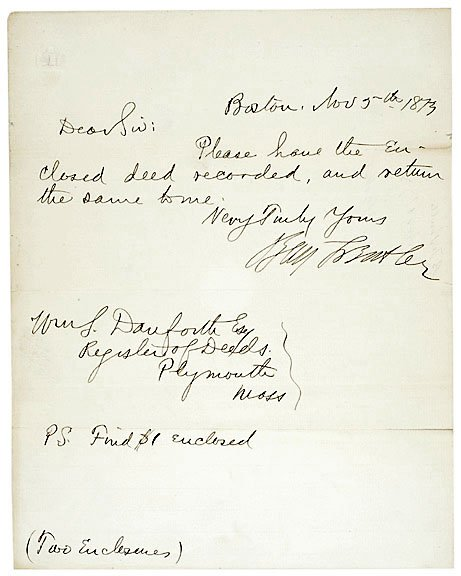 2008: Benjamin Butler Signed Note 1873