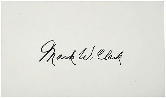 WWII Gen. Mark W. Clark Signed Card