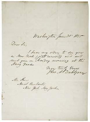 John Dahlgren Signed Letter 1855