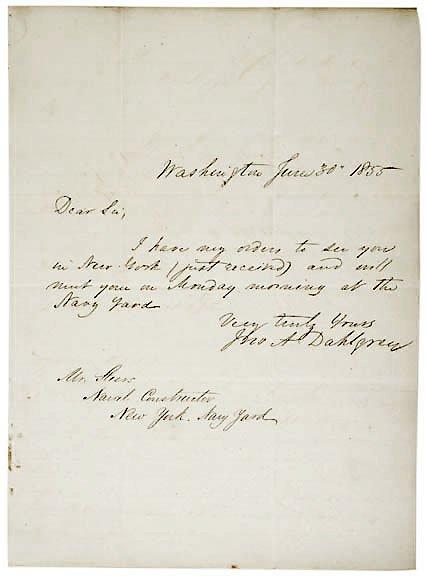 2014: John Dahlgren Signed Letter 1855