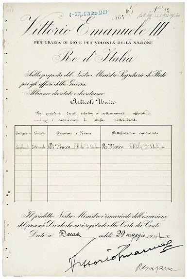 Victor Emmanuel III Signed Document