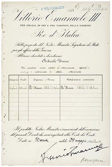 2017: Victor Emmanuel III Signed Document