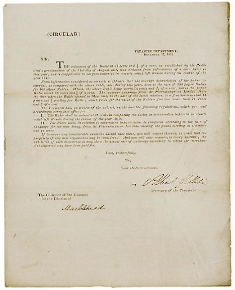 Albert Gallatin Signed Document, 1810