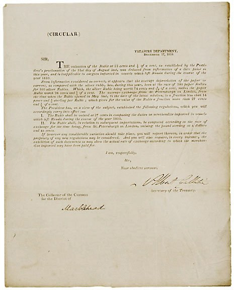 2021: Albert Gallatin Signed Document, 1810