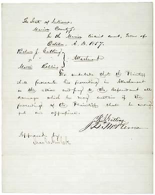 Richard Gatling Signed Document 1857