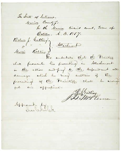 2022: Richard Gatling Signed Document 1857