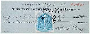 John Paul Getty Signed Check 1917