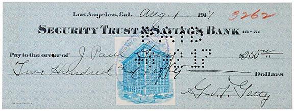 2023: John Paul Getty Signed Check 1917