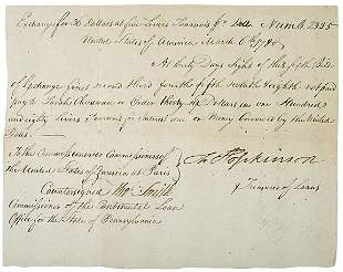 Francis Hopkinson Signed Bill of Exchange, 1779