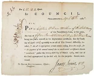 James Irvine Signed Document, 1785