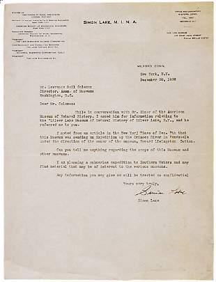 Simon Lake Signed Letter 1938