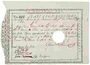 John Trumbull Signed Document, 1790