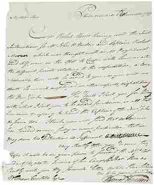 Thomas Truxtun Autograph Letter Signed 1789