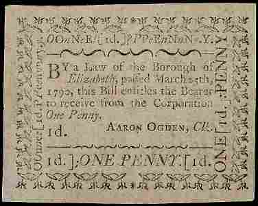 2372: Colonial Currency March 25, 1790 NJ 1p