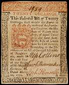 2392: Colonial Currency, PA, March 20, 1771, 20s