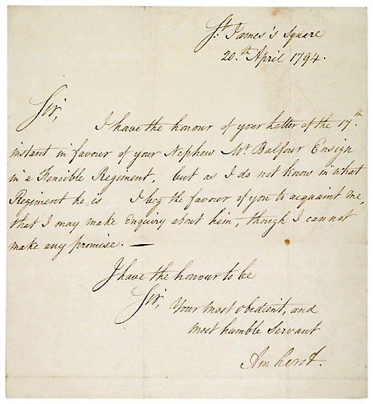 3: 1794 Jeffrey Amherst Letter Signed