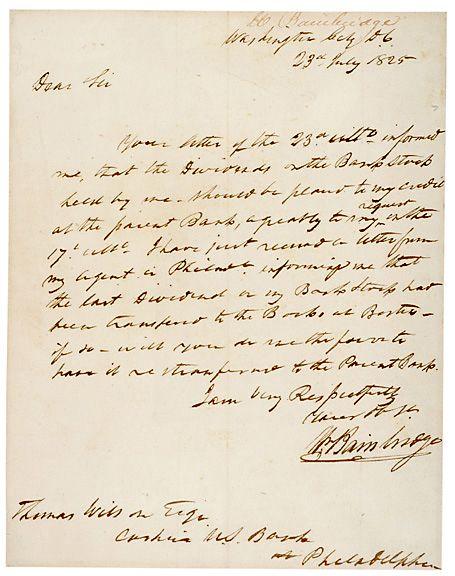WILLIAM BAINBRIDGE Signed Letter