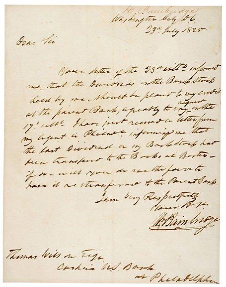 6: WILLIAM BAINBRIDGE Signed Letter