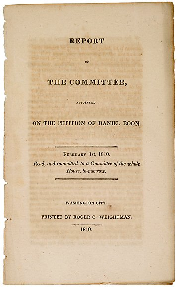11: DANIEL BOONE Committee Report 1810