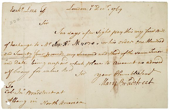 12: Autographed Document Signed Mary Bradstreet