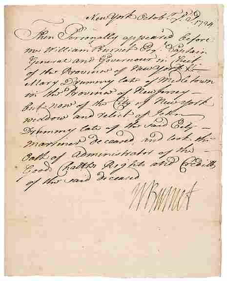 WILLIAM BURNET Signed Document 1724