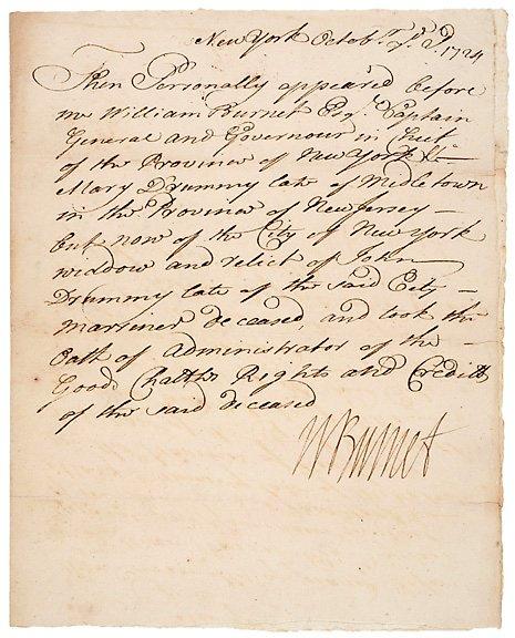 14: WILLIAM BURNET Signed Document 1724
