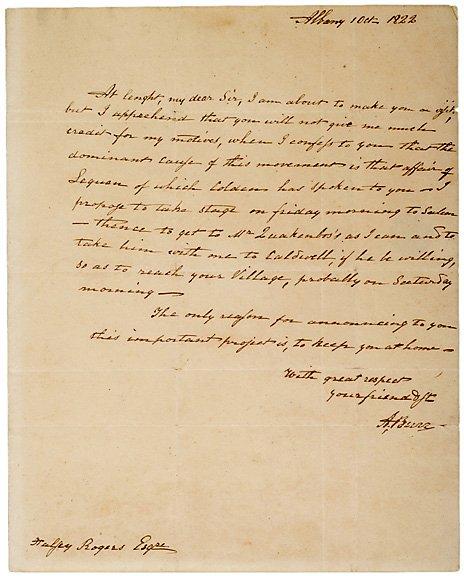 15: Aaron Burr Autograph Letter Signed 1822