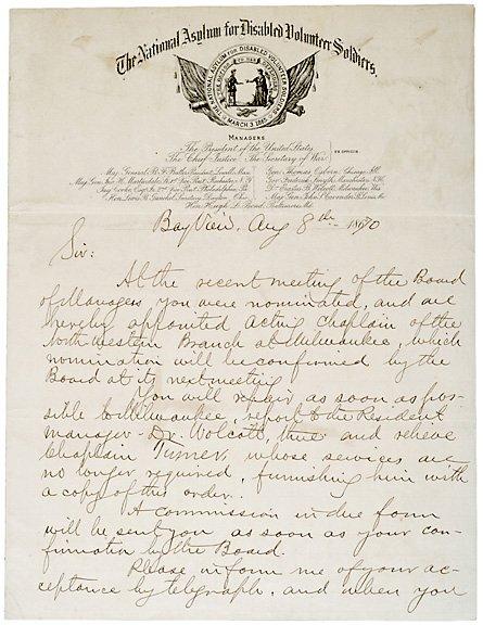 16: Letter Signed, Benj. Butler, August 8, 1870