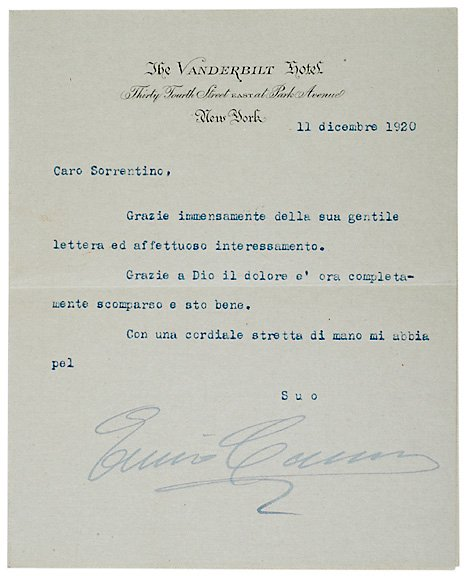 21: Typed Letter Signed Enrico Caruso 1920
