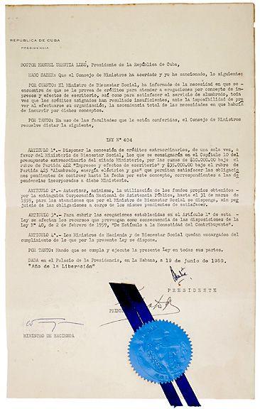 Document Signed, Fidel Castro 1959