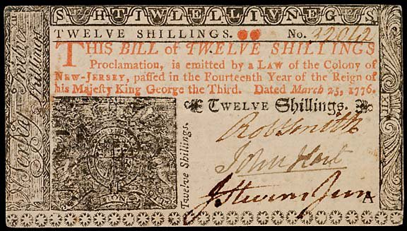 781: Colonial Currency. JOHN HART. Mar. 25, 1776 20s