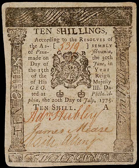 782: Colonial Currency. ADAM HUBLEY. July 20, 1775