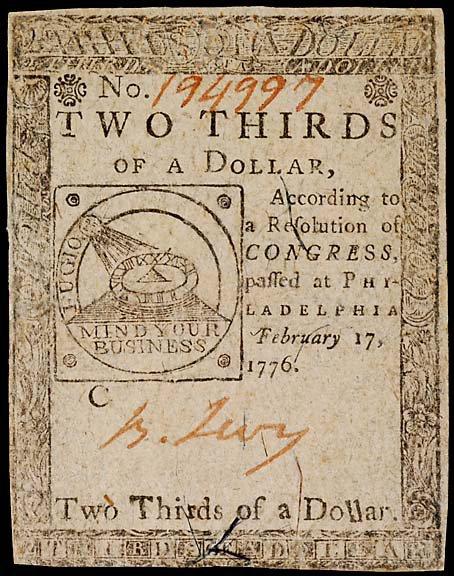 784: Colonial Currency. BENJAMIN LEVY. Feb. 17, 1776