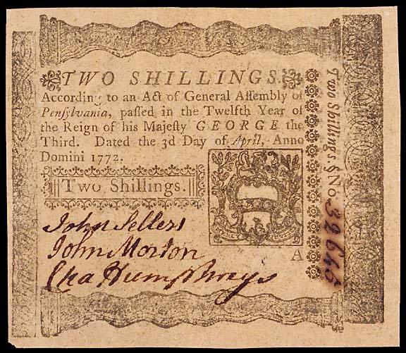 785: Colonial Currency. JOHN MORTON. April 3, 1772, 2s
