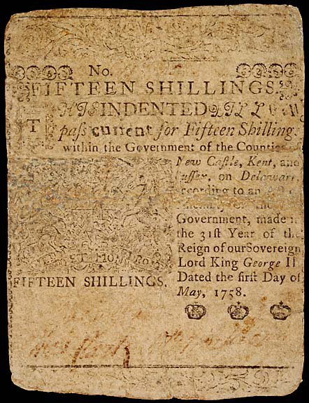 786: Colonial Currency. B. FRANKLIN. May 1758, 15s, DE