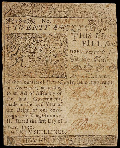 787: Colonial Currency B. FRANKLIN. June 1, 1759, 15s