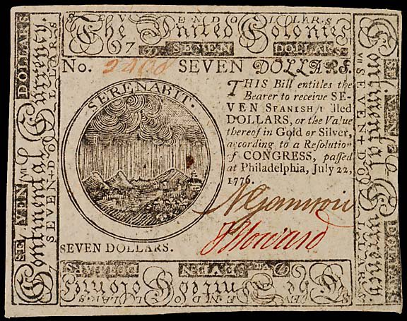 792: Continental Currency. July 22, 1776, $7