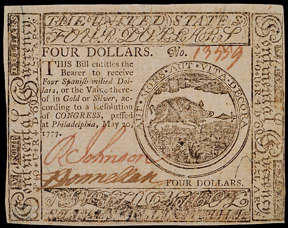 795: Continental Currency. May 20, 1777, $4