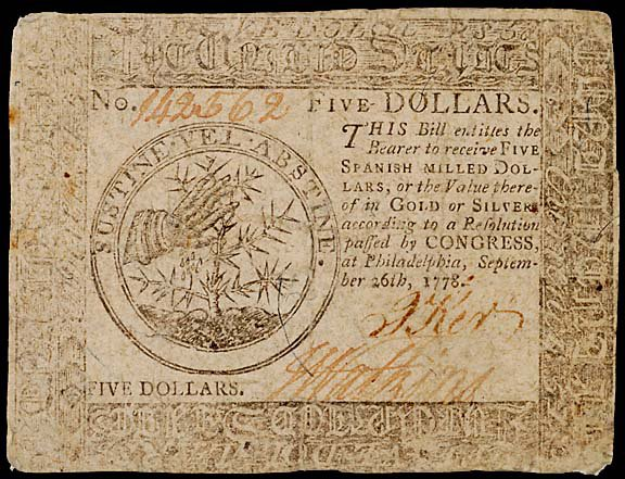 796: Continental Currency. September 26, 1778, $5