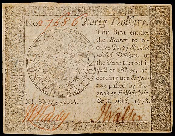 798: Continental Currency. September 26, 1778, $40