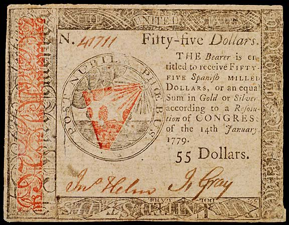 799: Continental Currency. January 14, 1779, $55
