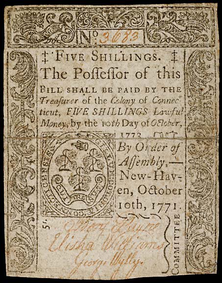 800: Colonial Currency, CT October 10, 1771, 5s