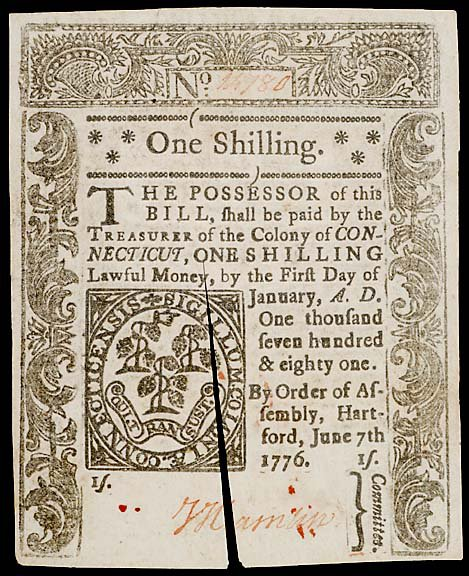 801: Colonial Currency. CT June 7, 1776, 1s