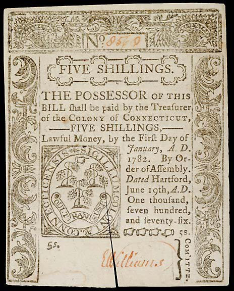 802: Colonial Currency. CT June 19, 1776, 5s