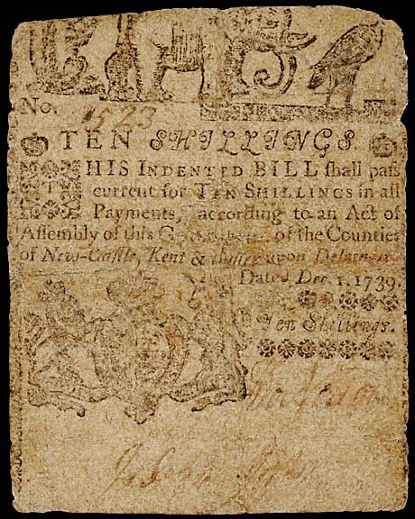 803: Colonial Currency. DE December 1, 1739, 10s