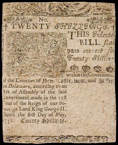 804: Colonial Currency. DE May 1, 1758, 20s