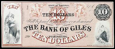 1102: Obsolete Currency, VA, The Bank of Giles, $10
