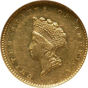1307: 1856-S/S Indian Head $1 Gold, Small Head
