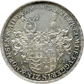 1460: German States/Fugger 1781 Thaler, PCGS AU-58.