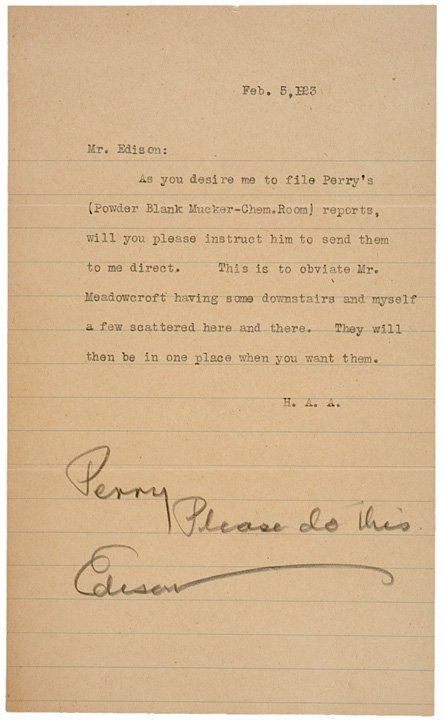 3005: THOMAS A. EDISON Signed Letter to Employee